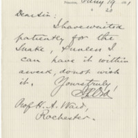 Ord, Joseph P. Letter to Ward, Henry A.  (1881-01-19)
