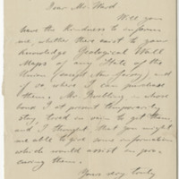 Hilderbrand, W. Letter to Ward, Henry A. (1876-04-27)
