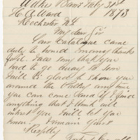 Coryell, Torbert. Letter to Ward, Henry Augustus. (1873-07-31)