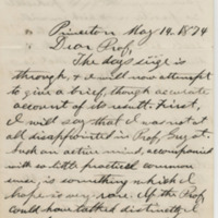 Howell, Fred D. Letter to Ward, Henry Augustus (1874-05-14)