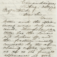 Steele, M. R. Letter to Ward, Henry Augustus (1876-08-30)