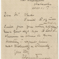 Dunraven, Florence Kerr. Letter to Ward, Henry Augustus. (1873-11-01)