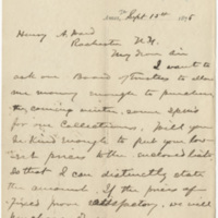 Bessey, C. E.  Letter to Ward, Henry Augustus (1876-09-15)