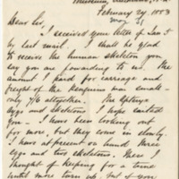 Cheeseman, T. F. Letter to Ward, Henry A. (1883-02-24)