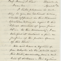Stuart, Alex H. H. Letter to Ward, Henry A. (1876-04-25)