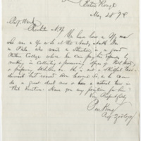 King, P. Letter to Ward, Henry Augustus (1874-05-28)