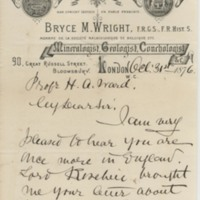Wright, Bryce M. Letter to Ward, Henry A. (1876-10-31)