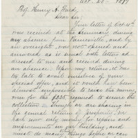 Evans, Mary. Letter to Ward, Henry A. (1879-10-20)