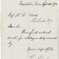 Broker, Theo. Letter to Ward, Henry Augustus (1876-09-10)
