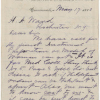 Spencer & Crocker. Letter to Ward, Henry A (1883-05-17)