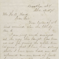 McNiel, Wm. H. Letter to Ward, Henry Augustus. (1875-12-19), page 1