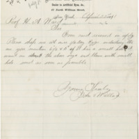 Wallace, John. Letter to Ward, Henry A. (1881-04-21)