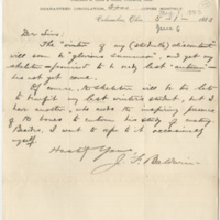 Baldwin, J. F. (James Fairchild). Letter to Ward, Henry A. (1883-05-01), page 1