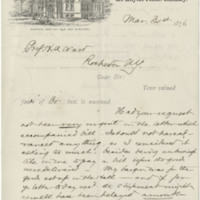 Williston, A. Lyman.  Letter to Ward, Henry A. (1876-03-31)