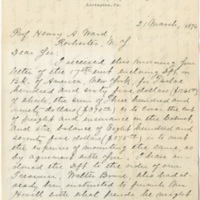 Lee, George Washington Custis. Letter to Ward, Henry Augustus (1876-03-21)