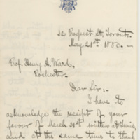 Montgomery, Henry.  Letter to Ward, Henry A. (1880-05-21)