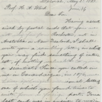 Steele, M. R. Letter to Ward, Henry A. (1883-05-02)