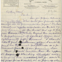 Hastings, John K.  Letter to Ward, Henry A. (1880-07-22)