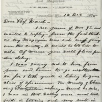 Bliss, J. S. Letter to Ward, Henry A. (1876-12-16)