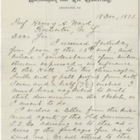 Lee, George Washington Custis. Letter to Ward, Henry A. (1875-12-18). Page 1