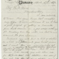 Boyd, H. W.  Letter to Ward, Henry A. (1876-04-27)