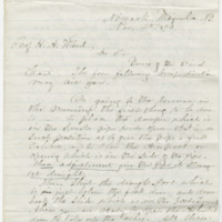 Culver, S. Letter to Ward, Henry Augustus. (1873-11-04)