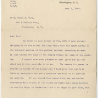 Eaton, John. Letter to Ward, Henry A. (1884-11-01)