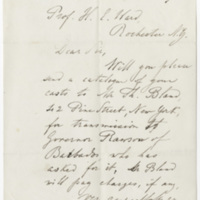 Pourtales, L. F. Letter to Ward, Henry Augustus. (1873-11-25)