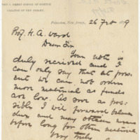 Scott, William Earl Dodge. Letter to Ward, Henry Augustus. (1879-02-26), page 1