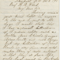 Clark, James H. Letter to Ward, Henry Augustus. (1873-12-08)