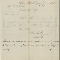 Fall, Delos. Letter to Ward, Henry A. (1881-01-11)