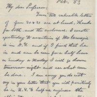 Hornaday, W. T. Letter to Ward, Henry Augustus (1883-02-02)