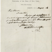Woolworth, S. B. Letter to Ward, Henry Augustus (1876-08-22)