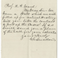 Swallow, G. C. Letter to Ward, Henry A. (1876-04-24)