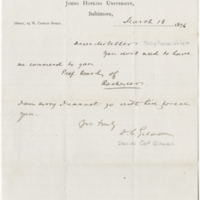 Gilman, Daniel Coit. Letter of introduction for Uhler, Phillip Reese. (1876-03-18)