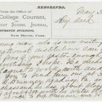 Chatfield, C. C. Letter to Ward, Henry Augustus (1874-05-30)