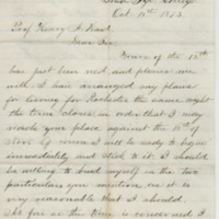Hornaday, W. T. Letter to Ward, Henry Augustus. (1873-10-18)