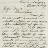 Steele, M. R.  Letter to Ward, Henry Augustus (1876-09-13)