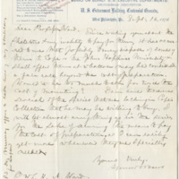 Baird, Spencer Fullerton. Letter to Ward, Henry A. (1876-09-16)