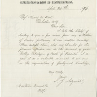 Sedgwick, S.J. Letter to Ward, Henry A. (1876-04-24)