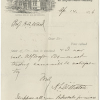 Williston, A. Lyman. Letter to Ward, Henry A. (1876-04-14)