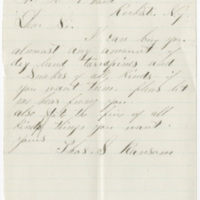 Ransom, Thomas S. Letter to Ward, Henry Augustus. (1874-05-22)