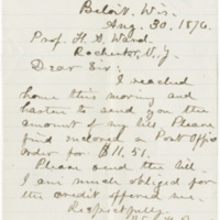 Beach, William H. Letter to Ward, Henry Augustus (1876-08-30)
